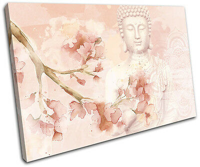 Buddha Peace Floral Mandala Rose Religion SINGLE CANVAS WALL ART Picture Print