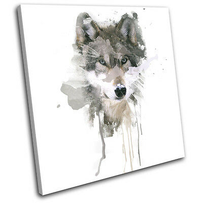 Mountain Wolf Paint Abstract Animals SINGLE CANVAS WALL ART Picture Print