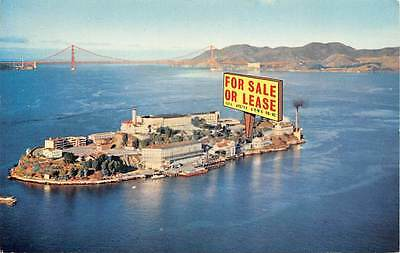 """Alcatraz Island, San Francisco, Bay """"For Sale or Lease"""" sign """"The Rock"""""""