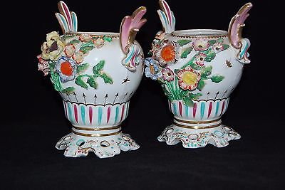 Pair of 19th c English Porcelain Vases Twin Handled Baluster Form Polychrome Dec