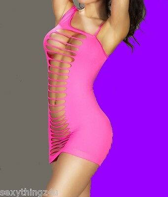 PINK CHEMISE STYLE STOCKING DRESS- Intimate Wear -Choose Size 8-10-12