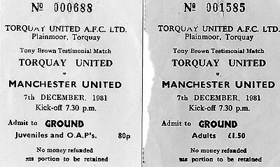 Torquay United  V  Manchester United  Testimonial Tickets   7Th December 1981