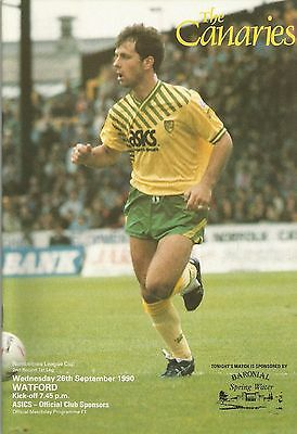 Norwich City v Watford, 26 September 1990, League Cup