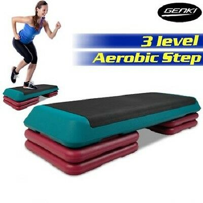 NEW Professional Aerobic Gym Workout Fitness 4 Block Bench Step - Green & Pink