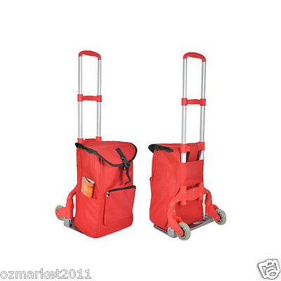 * New Red Bag Two Wheels Convenient Collapsible Shopping Luggage Trolleys