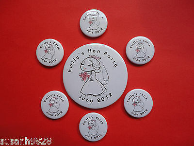 Personalised Wedding Hen Night Badges 1 large and 6, 12, 18, 24 small
