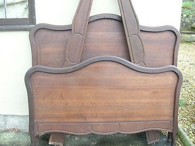 Antique 4 ft French Louis XV Oak Bed
