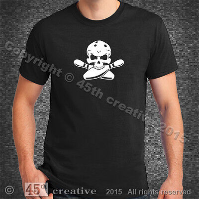 Bowler Crossbones T-Shirt XL - competition bowling ball pins shoes skull t shirt