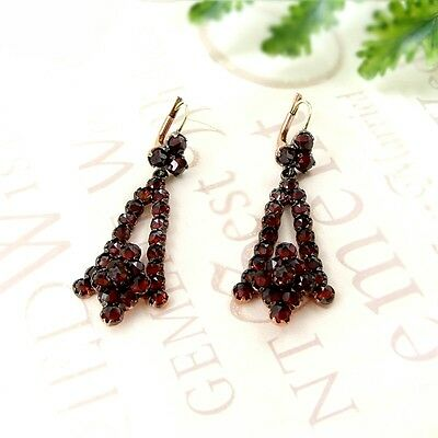 Vintage garnet earrings w/14ct gold wires Victorian style || ГРАНАТ 3RDW
