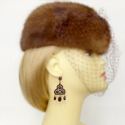 Gorgeous Vintage garnet triangle earrings w/14ct gold wires || ГРАНАТ