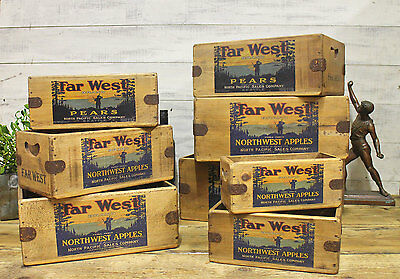 Vintage Far West Fruit Box Rustic Wooden Storage Crate Vintage Classic Advert