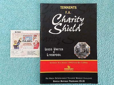 1992 - CHARITY SHIELD PROGRAMME + MATCH TICKET - LEEDS UTD v LIVERPOOL
