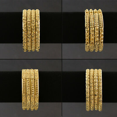 Gold Plated Bangle Sets Indian Pakistani Party Wear Jewellery No Colour Change