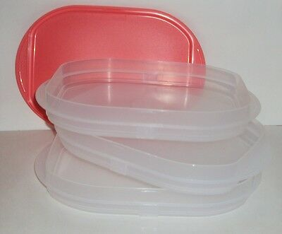 New TUPPERWARE Fridge Stackables Guava Meat Cheese Deli Keeper 3 Stacking Trays