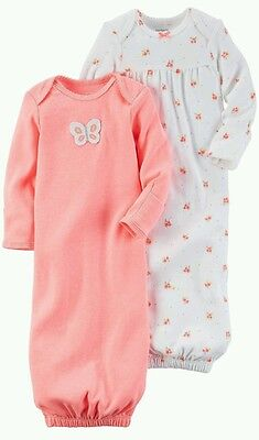 NEW NWT Carter's Girls 2 Pack Sleeper Gowns Long Sleeve One Size