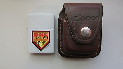 Rare Zippo Kiss Army Lighter With Leather Pouch Clip