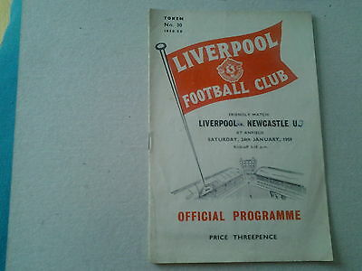 Liverpool v Newcastle programme Friendly 24th January 1959