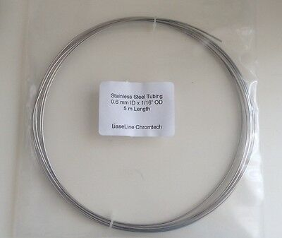 "Stainless Steel Tubing for HPLC and GC, 1/16"" OD x 5 m Length"