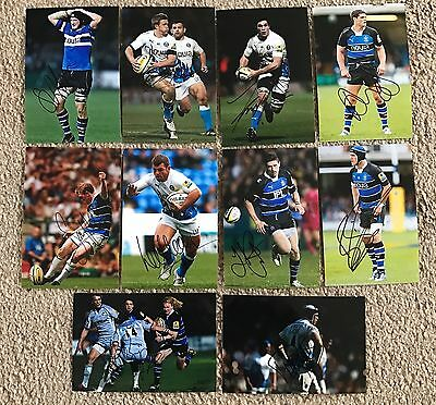 BATH RUGBY - Hand Signed 6x4 Picture/Photos x10 - Mears Louw Attwood Biggs Vesty