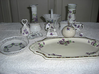 14 Piece Vintage Violet China Collection. Various Makers+Some Miniatures.