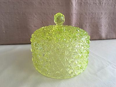 Vintage Yellow Pressed Glass Cheese Dome Cover