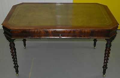 Stunning Antique Regency Circa 1830 Mahogany Writing Table / Desk Leather Top