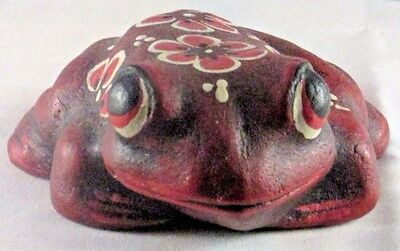 Frog Red Decorative Wood Hand Painted Rustic Made in Mexico