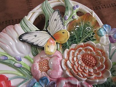 FITZ  FLOYD  Butterfly  Hanging Basket  Pottery classic