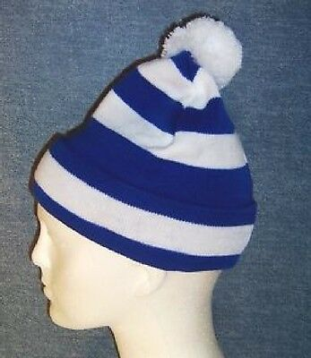 25 x hat.  Blue  and White Striped Football Bobble Hat - Chelsea, Millwall,