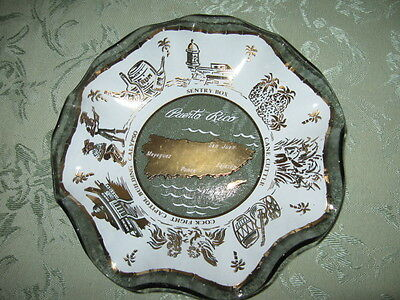 Vintage Fluted Glass Collector Plate Souvenir Scenes of Peurto Rico