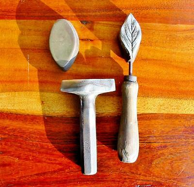 Rare Vintage Millinery Leaf Flower Iron Tool Mold Brass Antique Set Cutter #5