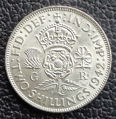 1942 George VI Two Shilling Coin / Florin –Lustrous Unc Ref SC1