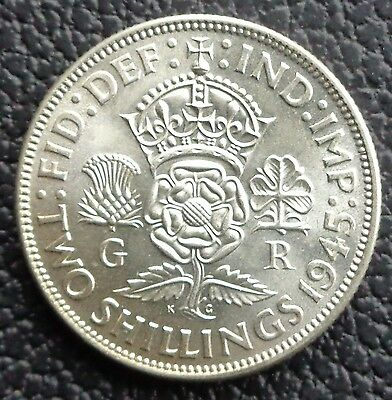 1945 George VI Two Shilling Coin / Florin –Lustrous Unc Ref SC1