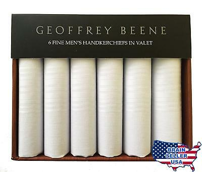 Geoffrey Beene Valet of 6 Handkerchiefs 100% Cotton White Gift Box Set, New