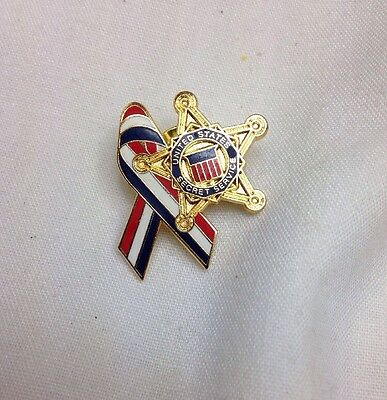 United States Secret Service Lapel Pin Red White & Blue Ribbon