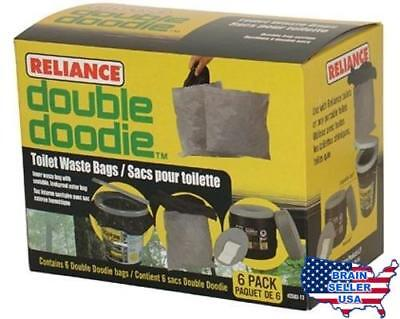 4004462 Reliance Double Doodie Toilet Waste Bag 6 Pack, New, Free Ship