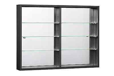 Wallmounted Glass Display Cabinet In Black Or White Sliding Doors Orbit Plus