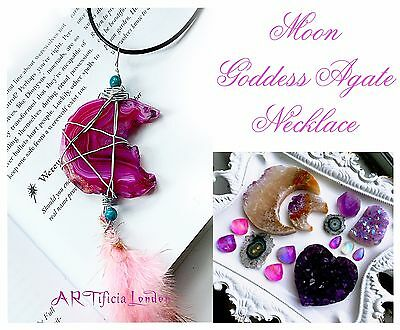 Pink Agate Moon Goddess Amulet Necklace Witchy Pentagram Crystal Jewellery Pagan