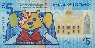 Bank of Scotland 2015 Only 50 Printed Polymer £5 S/N PUDSEY34 UNC V.V Rare !