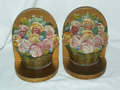 Vintage & Rare Pair Of Barbola Bookends 1930's Unusual Retro Kitsch