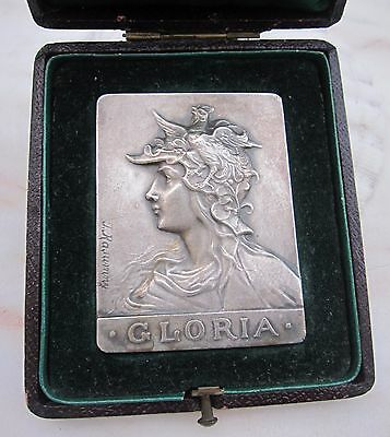 Antique French Art Nouveau medal plaque by Russian Medalist F Rasumny Bronze Box