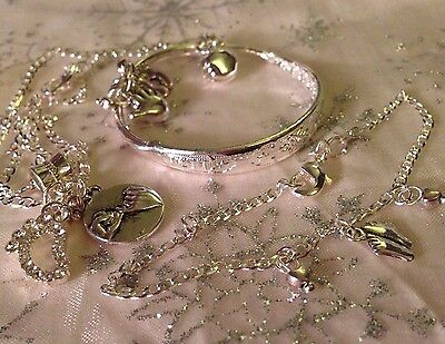 "Baby/child ""Pinky Promis Set"" 16"" Ster Sil Chain+925 Bangle&anklet/boxed."