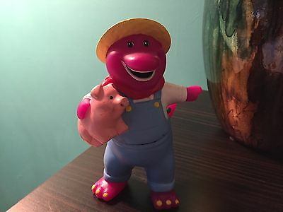 """5"""" Tall Barney The Dinosaur  Figure Farmer Outfit Cake Topper Decoration Play"""