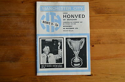 MANCHESTER CITY v HONVED 1970 CUP WINNERS CUP FOOTBALL PROGRAMME