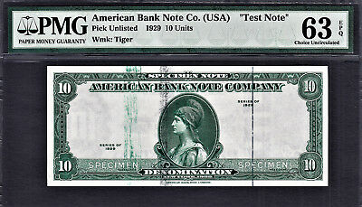 "1929 AMERICAN Bank Note Company ""TEST NOTE"" SPECIMEN $10 GEM UNC"