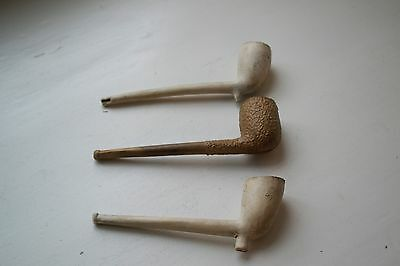 3 Antique Clay Pipes