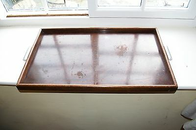 Large Antique Butlers Tray Wooden With Metal Handles Art Deco