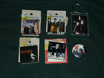 Lot of 4 U2 Vintage Pinbacks and a FOB Most New on Card Still