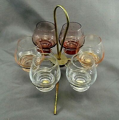Pioneer Glass Japan Willow Moon Shot Schnapps Glass Set (6) w Metal Stand 1950s