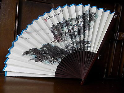 Large Collectable vintage oriental mountain scene bamboo paper folding hand fan